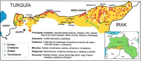 mapa del kurdistan sirio