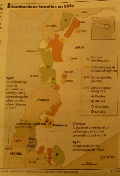 Un mapa parcial  de Siria elaborado por El PAÍS, donde considera Los Montes Kurdos (zona A) como una zona de apoyo al régimen