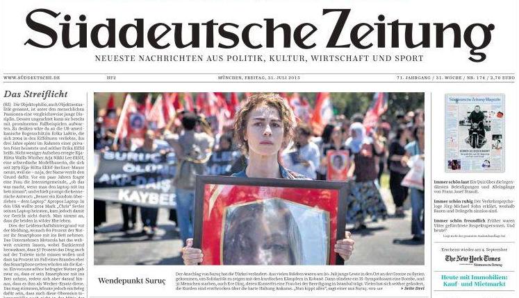 Portada del periódico alemán Süddeutsche sobre el atentado de Suruç